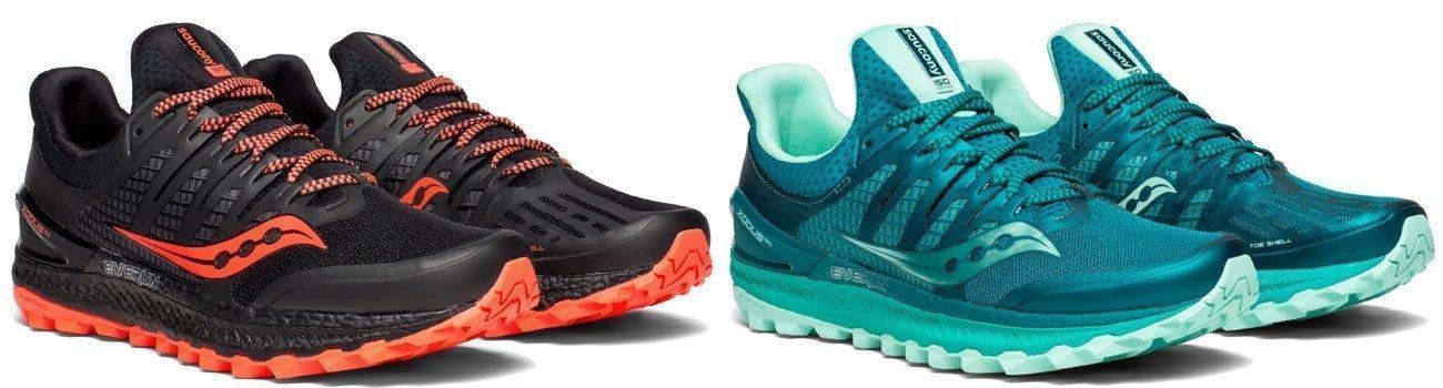 photo de chaussures de trait pour hommes noir et rouge et pour femme vert d'eau